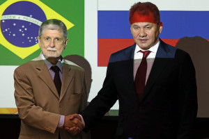 Defense Minister of Brazil, Celso Amorim, receives his counterpart from Russia, Sergei Shoigu, during bilateral meeting in Brasilia.