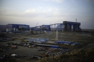 Mongolia - Oyu Tolgoi - The processing conveyor under construction is seen at the Oyu Tolgoi mine