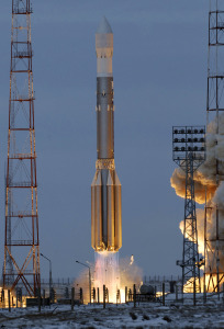 Proton-M rocket blasts off from the Baikonur launch pad in Kazakhstan, Thursday, Dec. 25, 2008. Russia's space agency says three GLONASS-M satellites have been put into orbit by the Proton-M rocket. The satellites launched Thursday will join Russia's Global Navigation Satellite System, or GLONASS. (AP Photo)