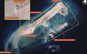 Recent satellite imagery from the  Centre national d'études spatiales (CNES) show that China is building an island on Fiery Cross Reef near the Spratly Islands in the South China Sea.