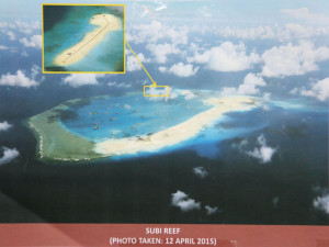 Supplied photo taken April 12, 2015 shows Subi Reef in the South China Sea, where China has continued reclamation work to build an airstrip. China is asserting sovereignty over most of the South China Sea, which is also claimed in whole or in part by Taiwan, Vietnam, Brunei, Malaysia and the Philippines. (Photo by the Philippine military)(Kyodo)