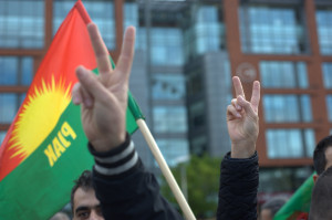 Kurdish people, living in Manchester (UK), protesting against the Turkish government for their lack of action against ISIS (also known as IS or ISIL) in the Syrian border town of Kobane. (Photo by Jonathan Nicholson/NurPhoto/Sipa USA)