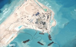 Construction at Fiery Cross Reef as of November 2014. Source: CSIS Asia Maritime Transparency Initiative and Digital Globe.