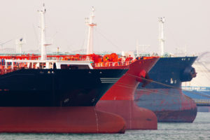 Oil-tankers docking in Rotterdam, Holland.